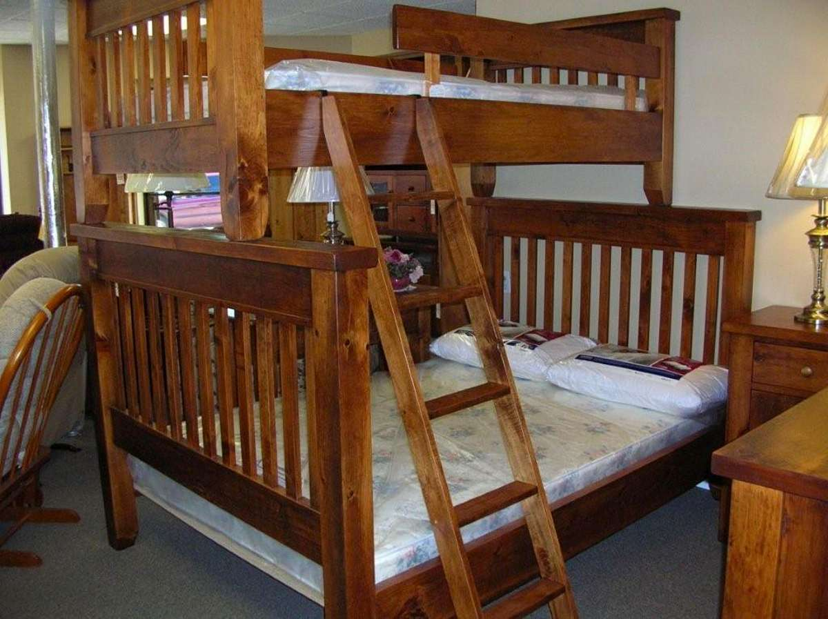 Rough Sawn Single Over Double Pine Bunk Bed Solid Wood Mennonite