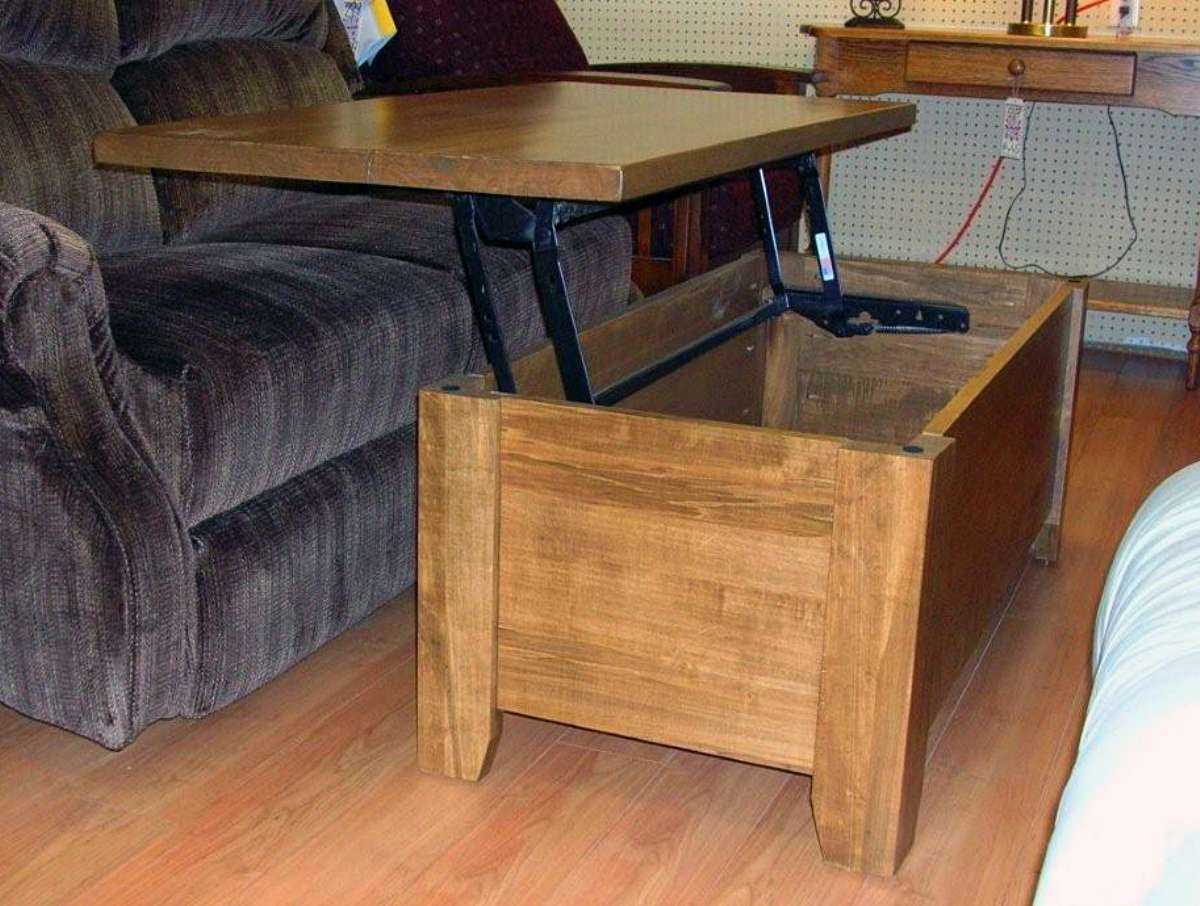 Square Wormy Maple Pop Up Coffee Table Solid Wood Mennonite