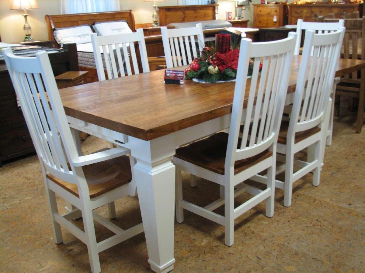 White Maple 7 Piece Harvest Table Set