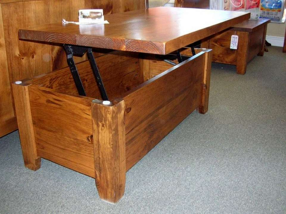 Rough Sawn Pine Pop-Up Coffee Table